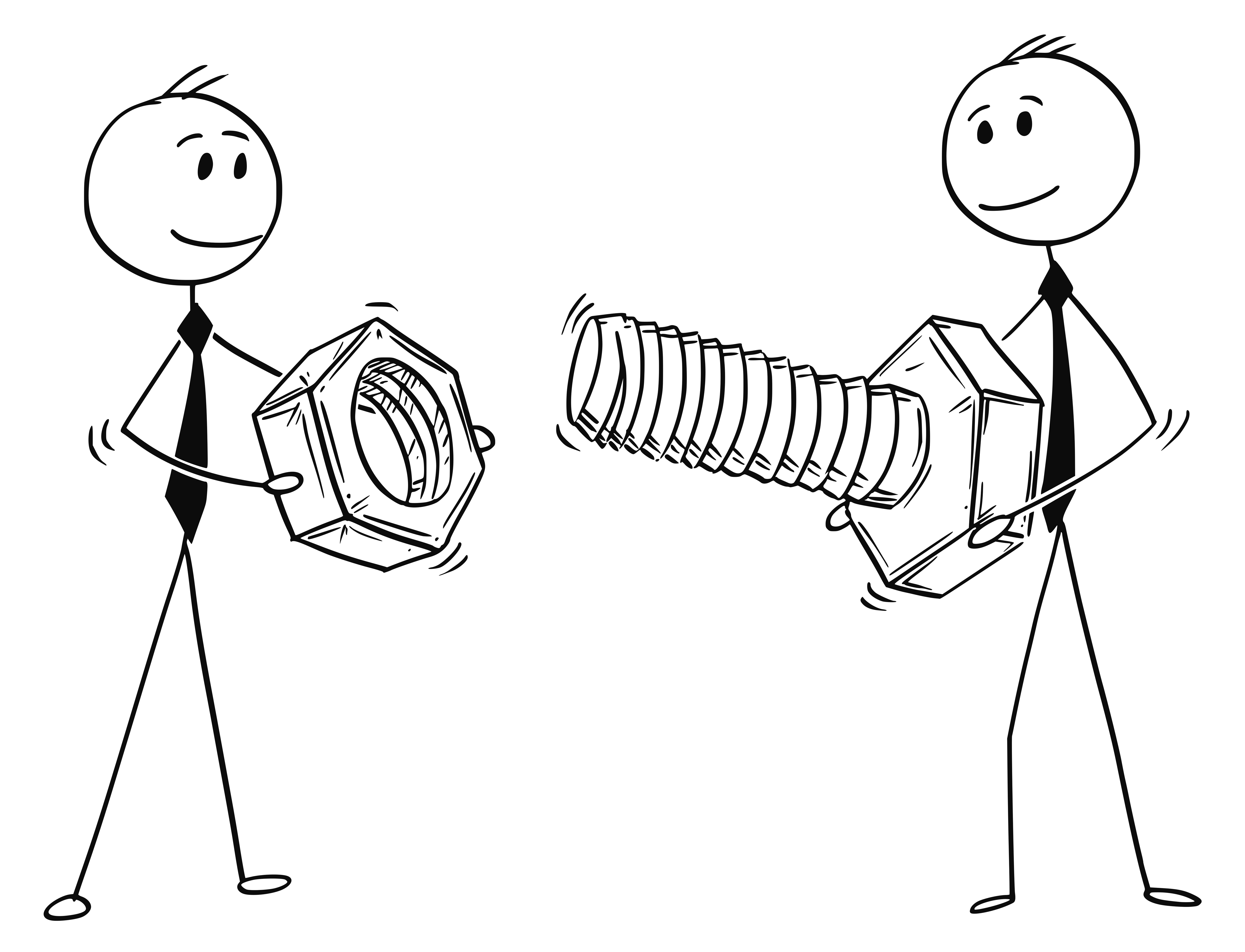 Cartoon of Two Businessmen Carrying Bolt and Nut as Problem Solution Metaphor